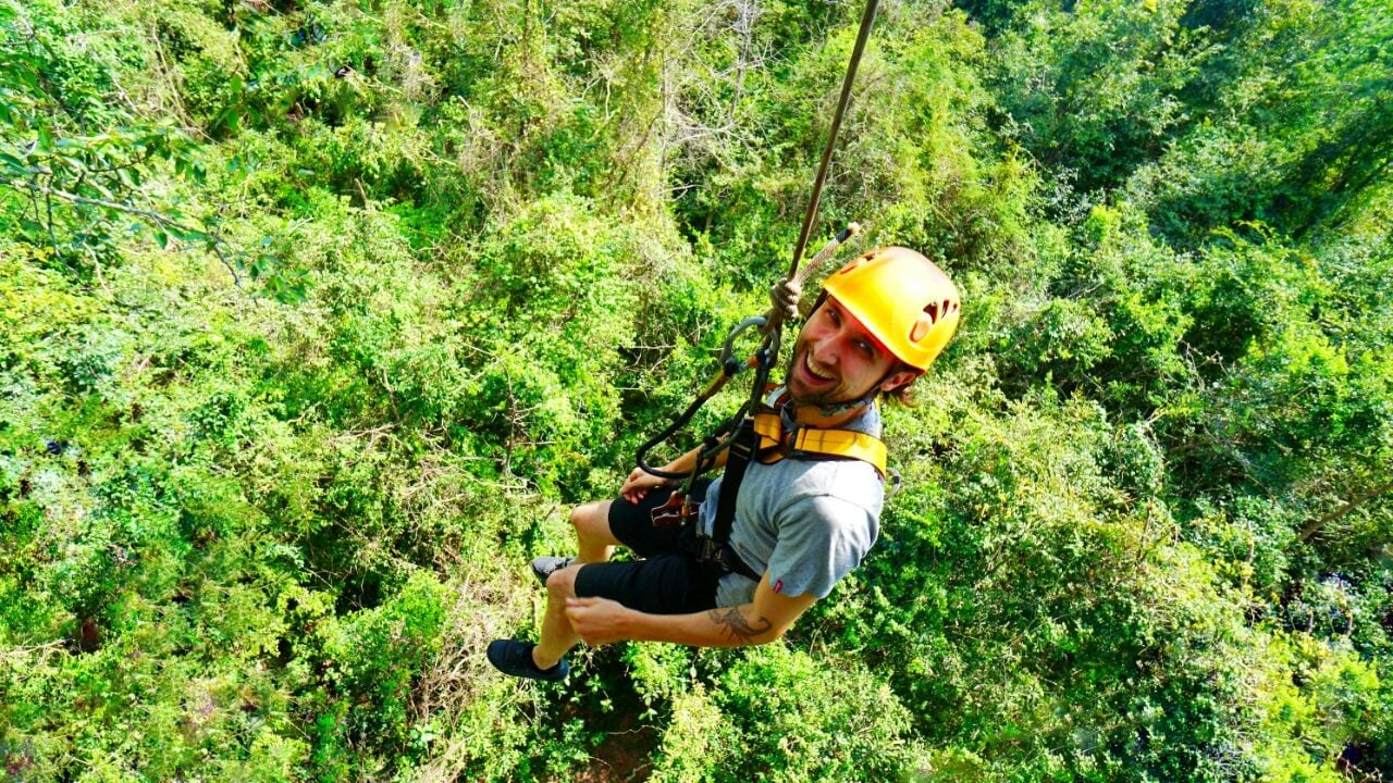 Man Abseils At Angkor Zipline